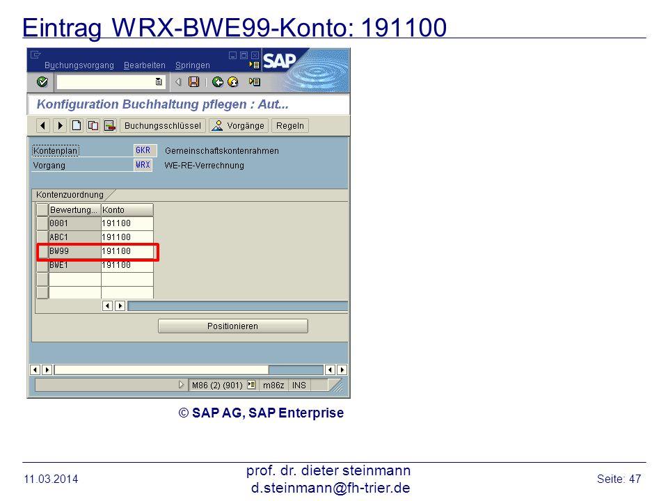 Eintrag WRX-BWE99-Konto: 191100 11.03.2014 prof. dr. dieter steinmann d.steinmann@fh-trier.de Seite: 47 © SAP AG, SAP Enterprise