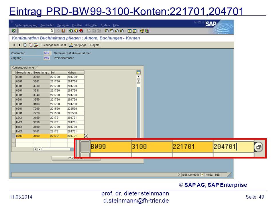 Eintrag PRD-BW99-3100-Konten:221701,204701 11.03.2014 prof. dr. dieter steinmann d.steinmann@fh-trier.de Seite: 49 © SAP AG, SAP Enterprise