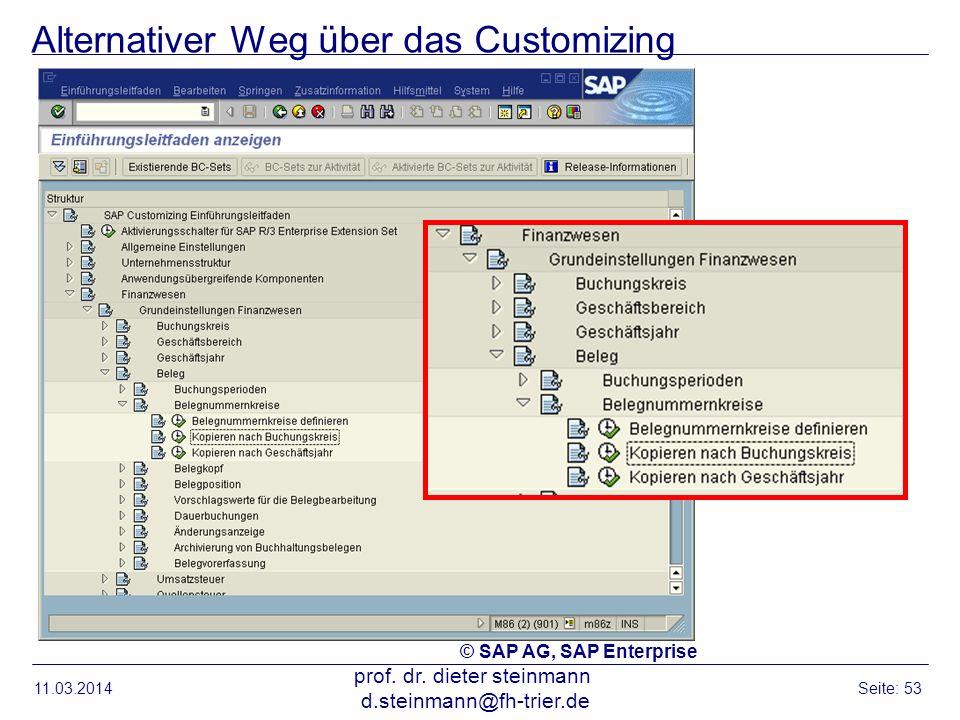 Alternativer Weg über das Customizing 11.03.2014 prof. dr. dieter steinmann d.steinmann@fh-trier.de Seite: 53 © SAP AG, SAP Enterprise