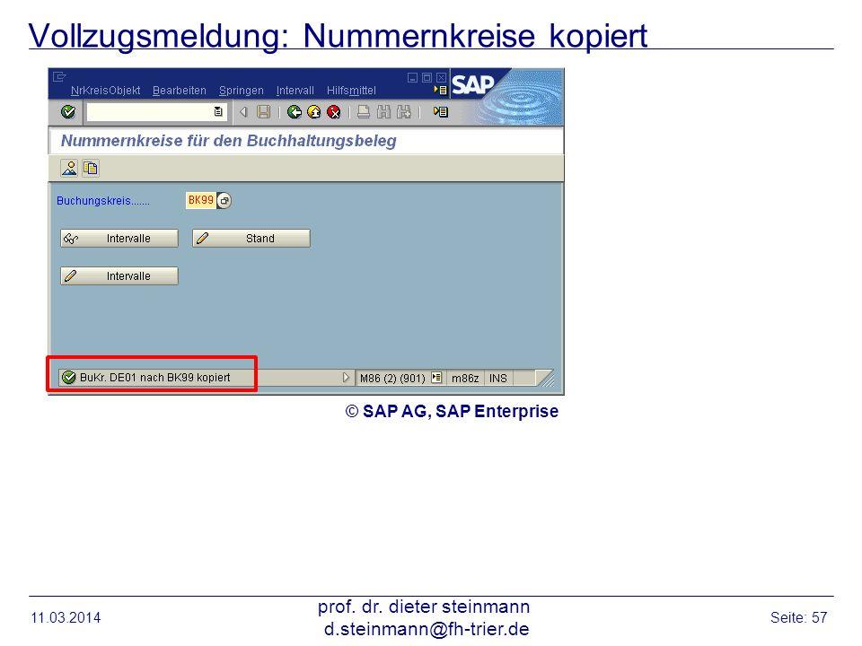 Vollzugsmeldung: Nummernkreise kopiert 11.03.2014 prof. dr. dieter steinmann d.steinmann@fh-trier.de Seite: 57 © SAP AG, SAP Enterprise