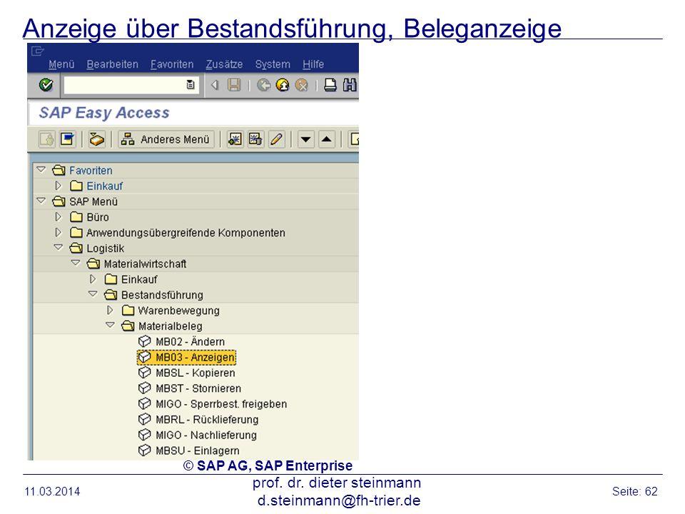Anzeige über Bestandsführung, Beleganzeige 11.03.2014 prof. dr. dieter steinmann d.steinmann@fh-trier.de Seite: 62 © SAP AG, SAP Enterprise