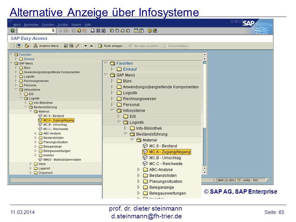 Alternative Anzeige über Infosysteme 11.03.2014 prof. dr. dieter steinmann d.steinmann@fh-trier.de Seite: 65 © SAP AG, SAP Enterprise