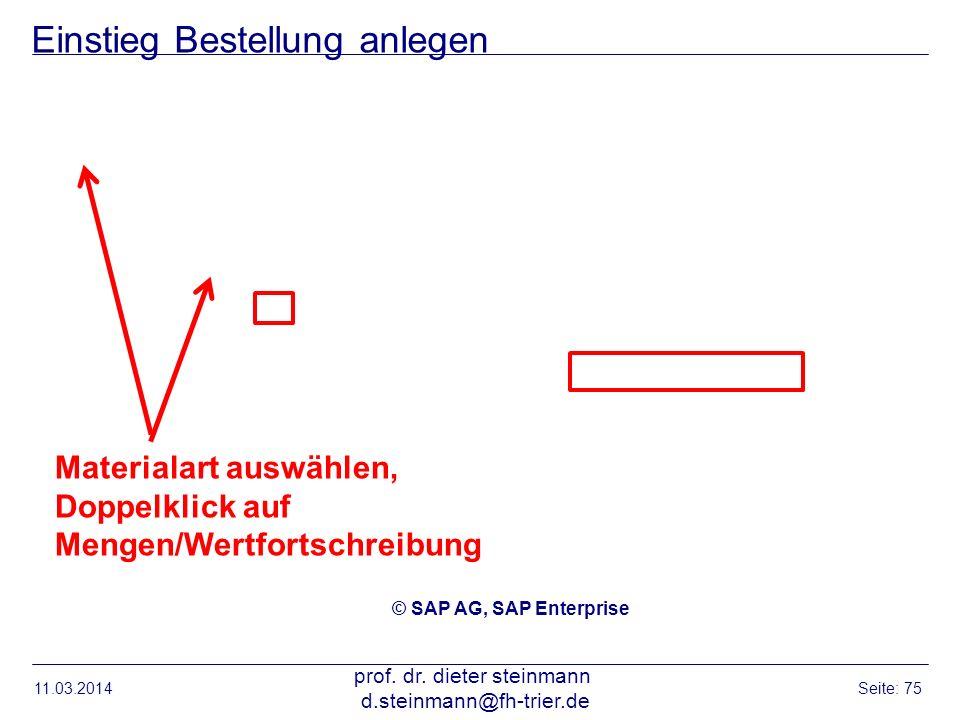 Einstieg Bestellung anlegen 11.03.2014 prof. dr. dieter steinmann d.steinmann@fh-trier.de Seite: 75 © SAP AG, SAP Enterprise Materialart auswählen, Do