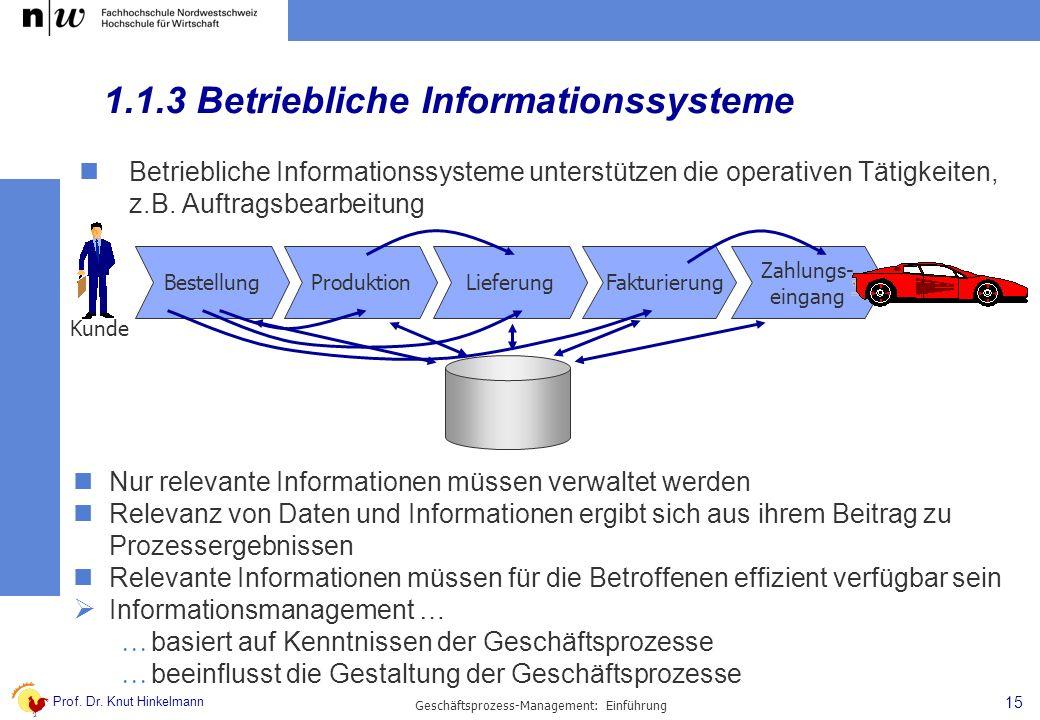 Prof. Dr. Knut Hinkelmann 15 Geschäftsprozess-Management: Einführung 1.1.3 Betriebliche Informationssysteme Betriebliche Informationssysteme unterstüt