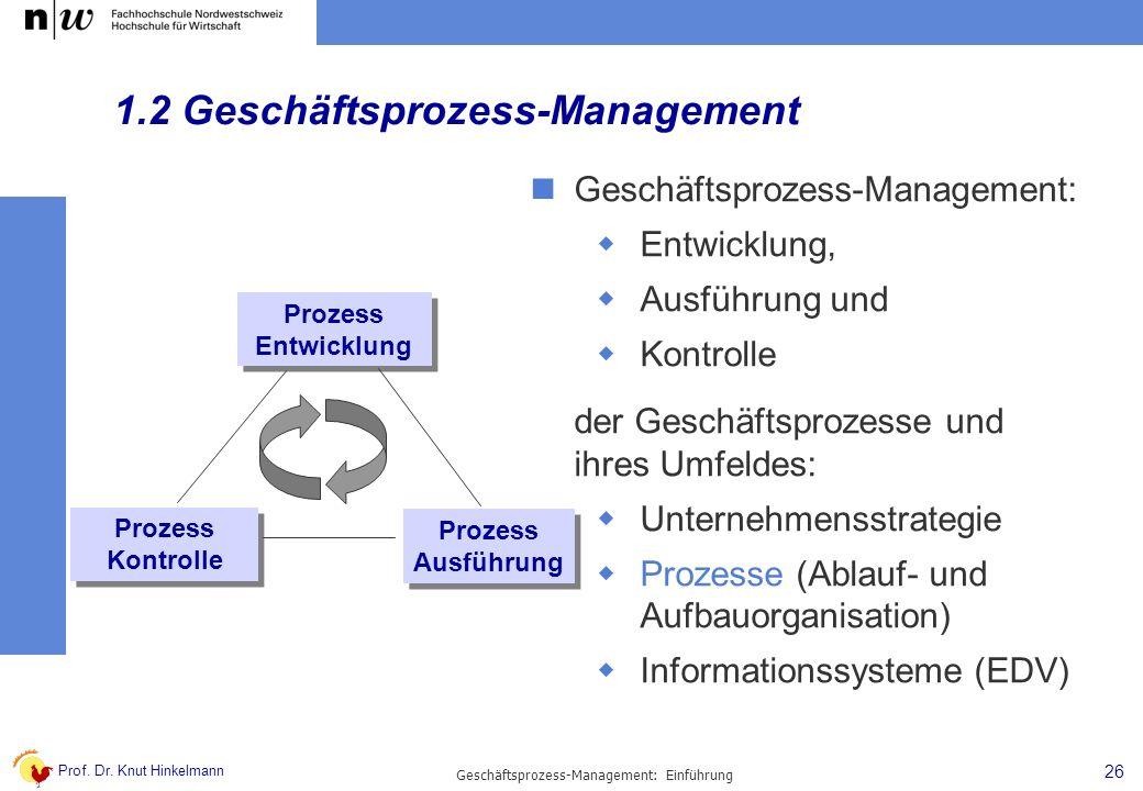 Prof. Dr. Knut Hinkelmann 26 Geschäftsprozess-Management: Einführung 1.2 Geschäftsprozess-Management Geschäftsprozess-Management: Entwicklung, Ausführ