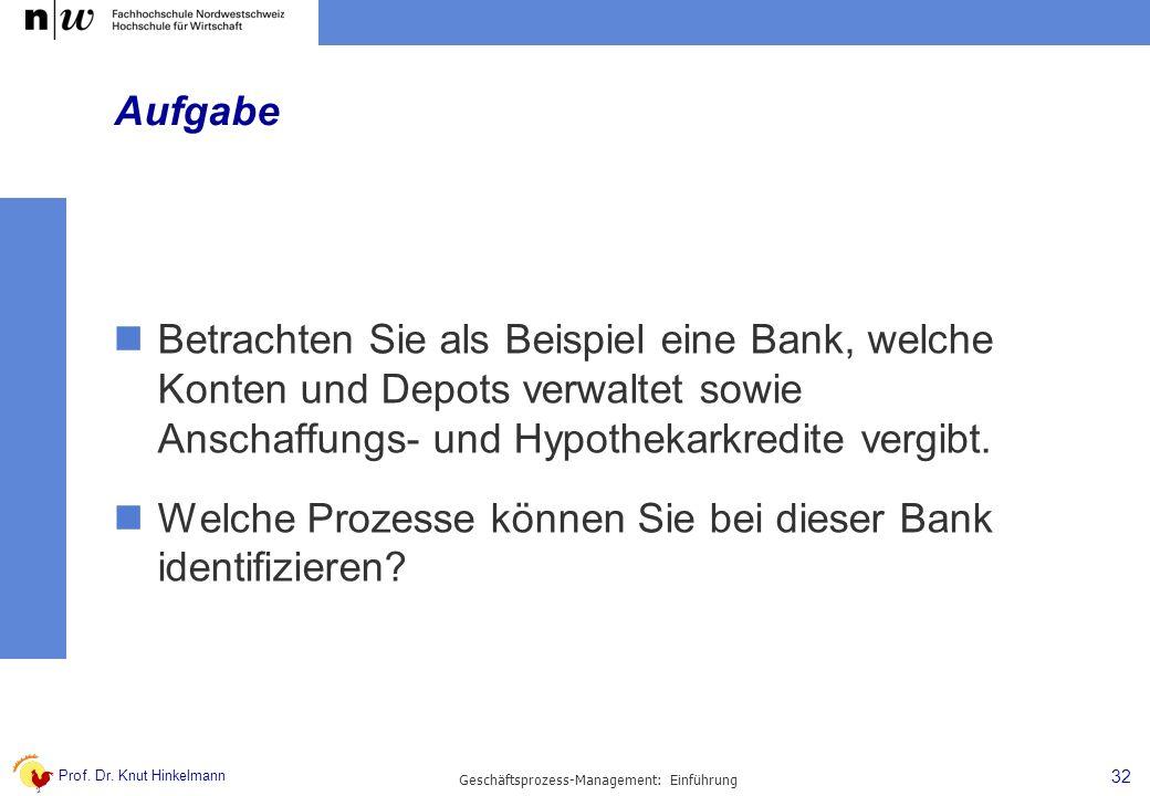 Prof. Dr. Knut Hinkelmann Aufgabe Betrachten Sie als Beispiel eine Bank, welche Konten und Depots verwaltet sowie Anschaffungs- und Hypothekarkredite