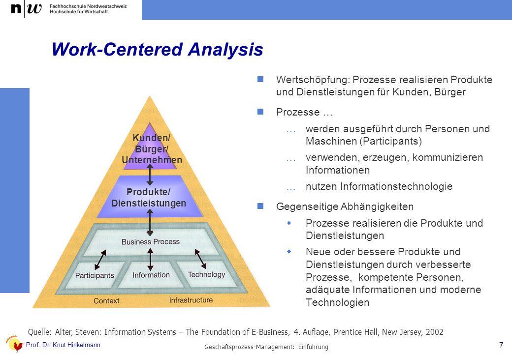 Prof. Dr. Knut Hinkelmann 7 Geschäftsprozess-Management: Einführung Work-Centered Analysis Quelle: Alter, Steven: Information Systems – The Foundation