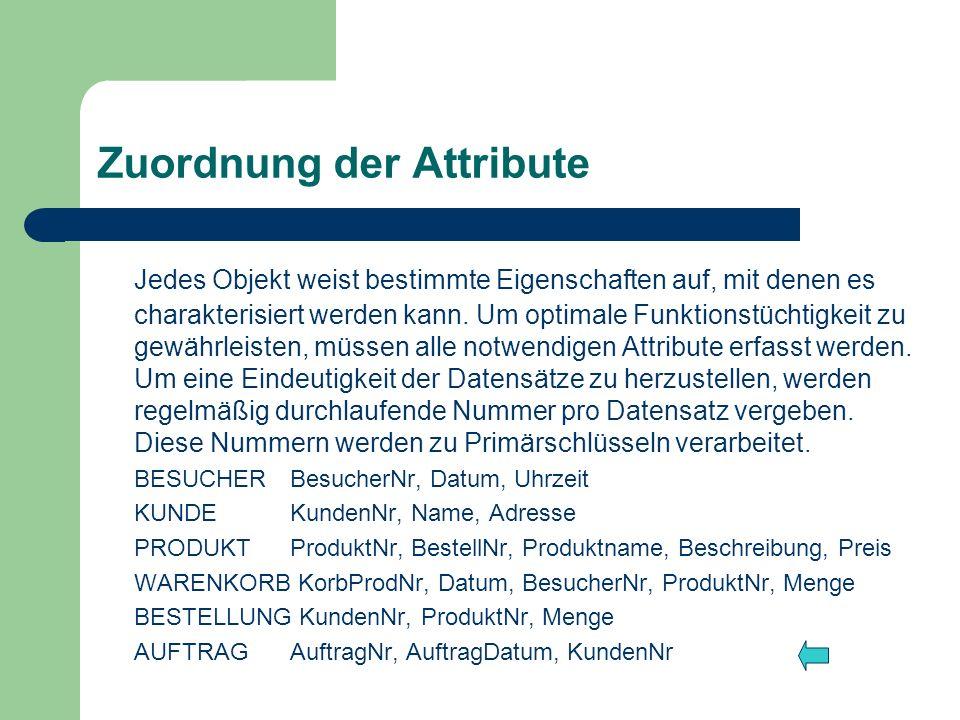 Zuordnung der Attribute Jedes Objekt weist bestimmte Eigenschaften auf, mit denen es charakterisiert werden kann. Um optimale Funktionstüchtigkeit zu
