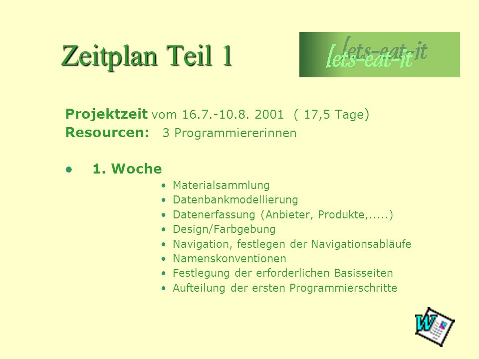 Zeitplan Teil 1 Projektzeit vom 16.7.-10.8. 2001 ( 17,5 Tage ) Resourcen: 3 Programmiererinnen 1. Woche Materialsammlung Datenbankmodellierung Datener
