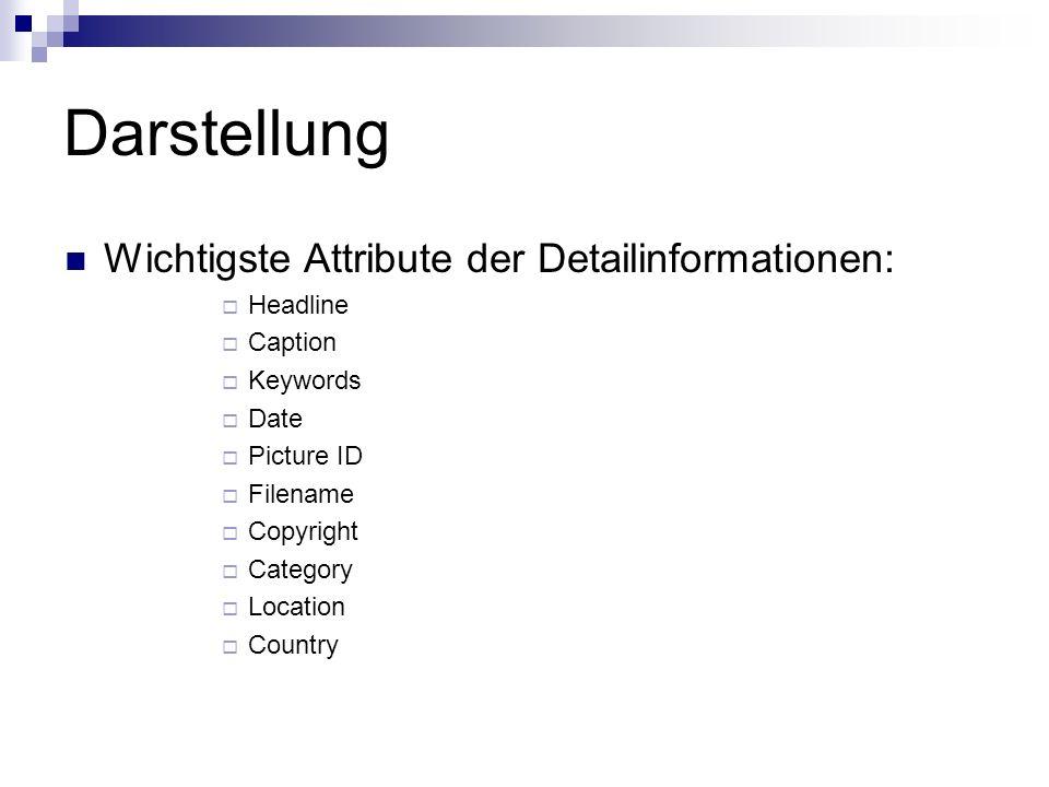 Darstellung Wichtigste Attribute der Detailinformationen: Headline Caption Keywords Date Picture ID Filename Copyright Category Location Country