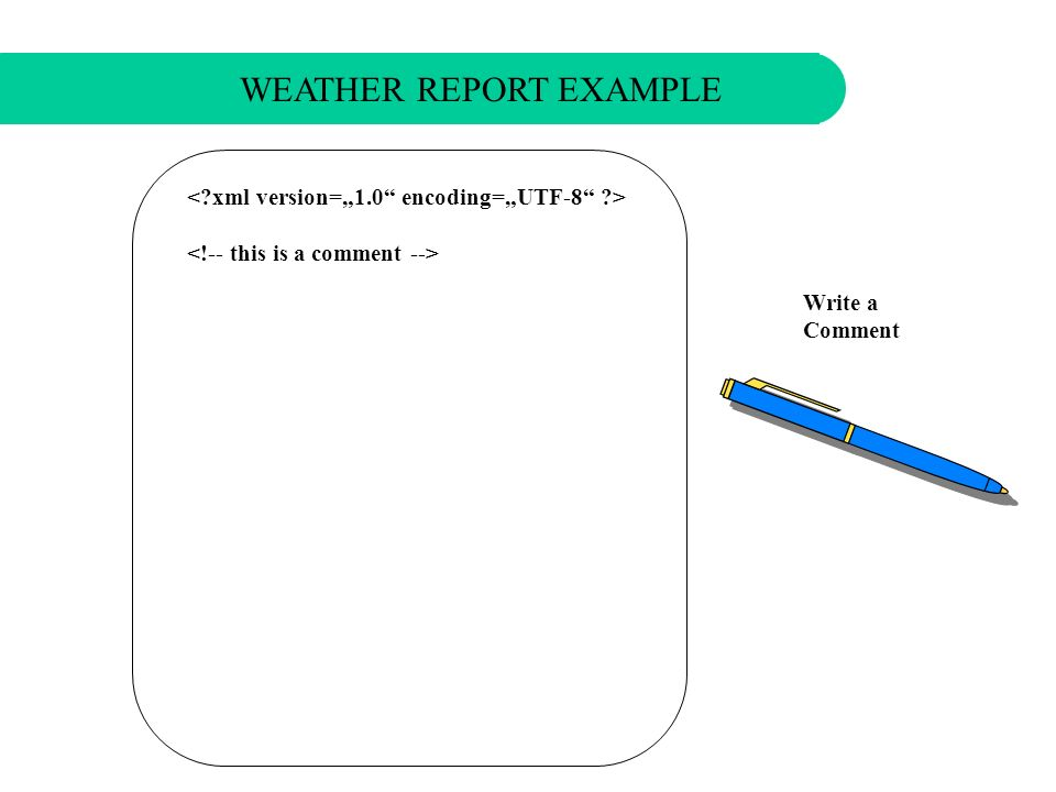 Set the full xml document declaration WEATHER REPORT EXAMPLE