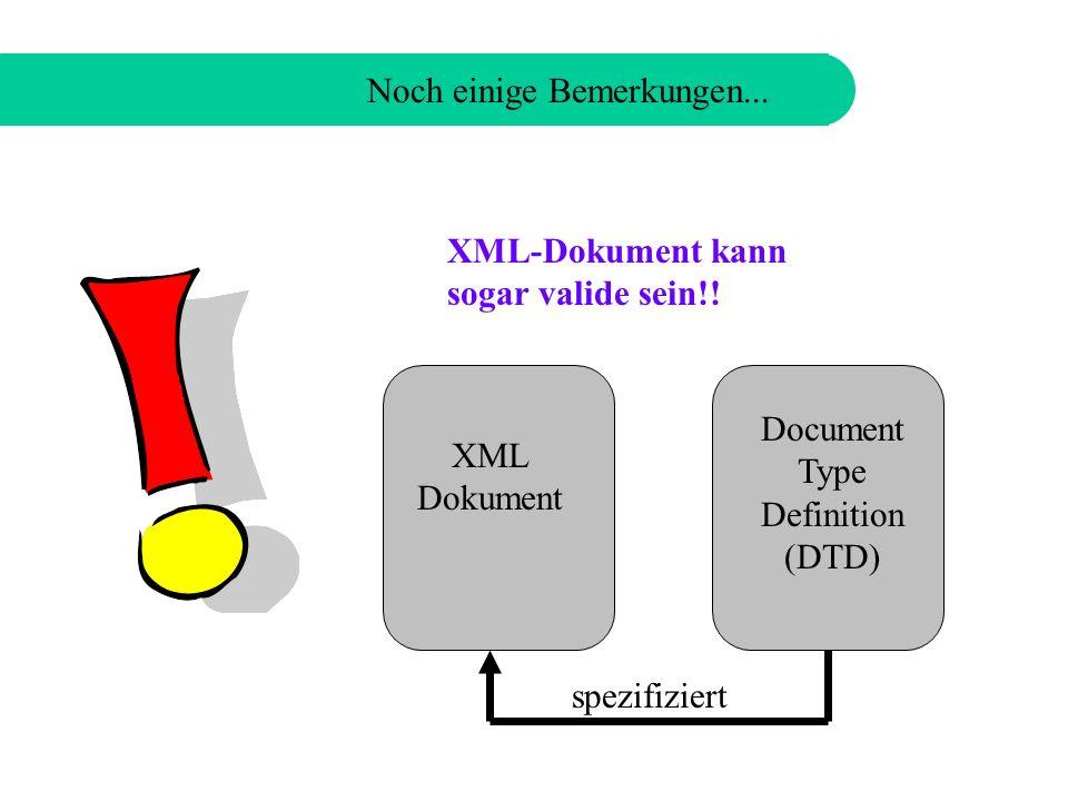 Noch einige Bemerkungen... XML-Dokument muss well-formed sein!.
