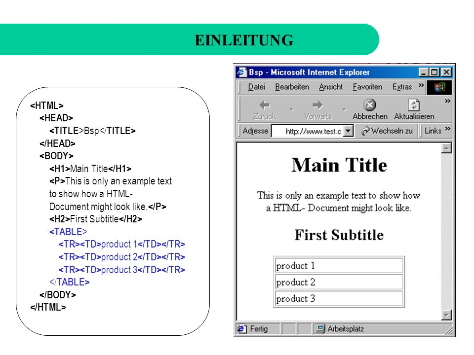 EINLEITUNG Bsp Main Title This is only an example text to show how a HTML- Document might look like.