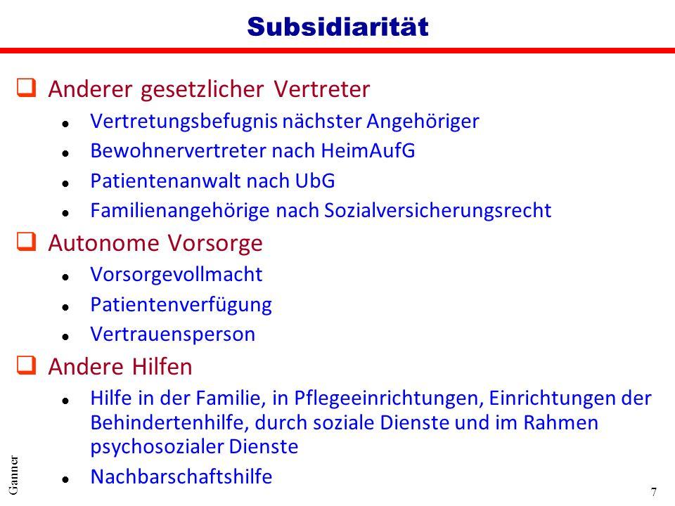 7 Ganner Subsidiarität q Anderer gesetzlicher Vertreter l Vertretungsbefugnis nächster Angehöriger l Bewohnervertreter nach HeimAufG l Patientenanwalt
