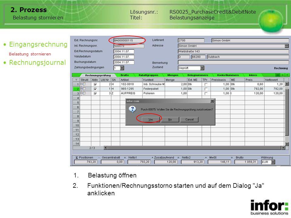 1.Belastung öffnen 2. Prozess Eingangsrechnung Belastung stornieren Rechnungsjournal Belastung stornieren 2.Funktionen/Rechnungsstorno starten und auf