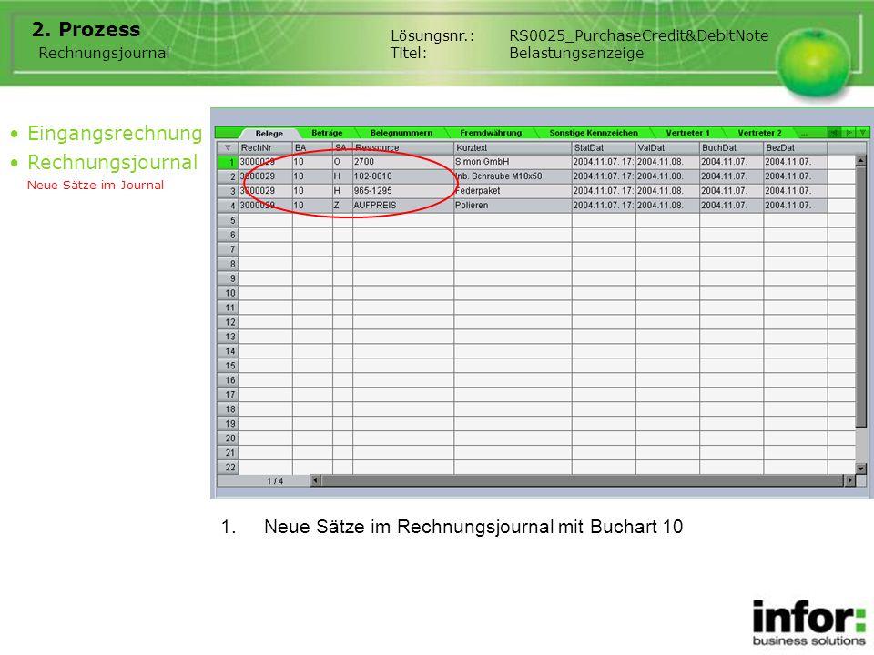 1.Neue Sätze im Rechnungsjournal mit Buchart 10 2. Prozess Eingangsrechnung Rechnungsjournal Neue Sätze im Journal Rechnungsjournal Lösungsnr.:RS0025_