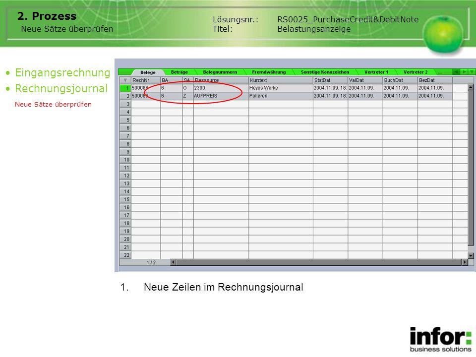 1.Neue Zeilen im Rechnungsjournal 2. Prozess Eingangsrechnung Rechnungsjournal Neue Sätze überprüfen Lösungsnr.:RS0025_PurchaseCredit&DebitNote Titel: