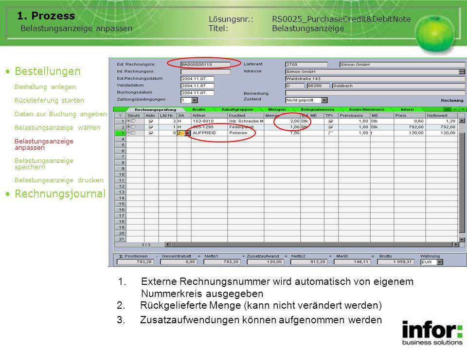 1.Externe Rechnungsnummer wird automatisch von eigenem Nummerkreis ausgegeben 1. Prozess Belastungsanzeige anpassen Bestellungen Bestellung anlegen Rü