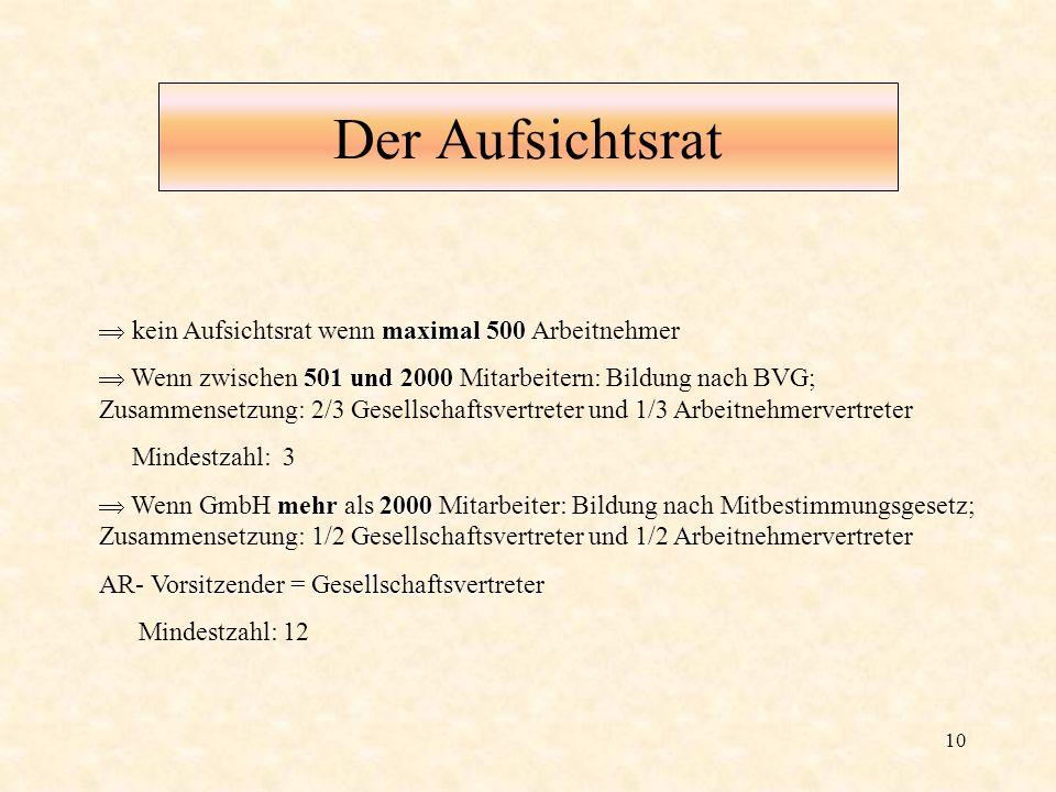 10 Der Aufsichtsrat maximal 500 kein Aufsichtsrat wenn maximal 500 Arbeitnehmer 501 und 2000 Wenn zwischen 501 und 2000 Mitarbeitern: Bildung nach BVG