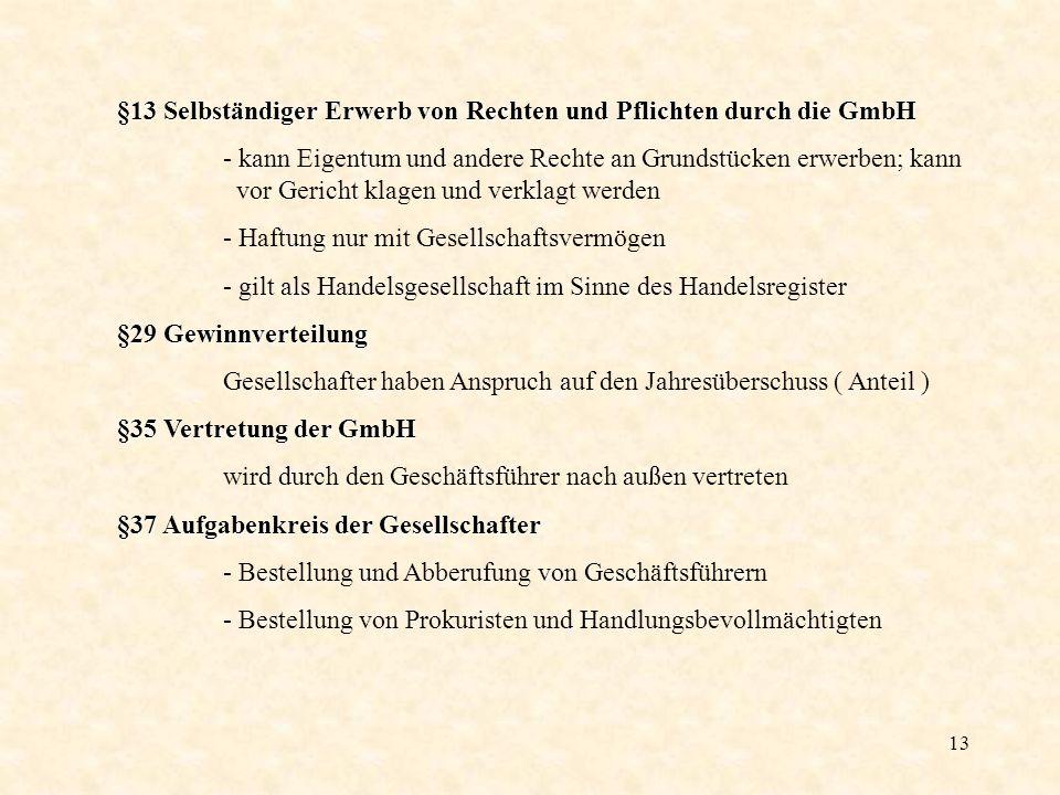 13 §13 Selbständiger Erwerb von Rechten und Pflichten durch die GmbH - kann Eigentum und andere Rechte an Grundstücken erwerben; kann vor Gericht klag