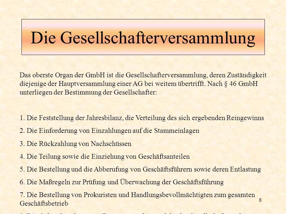 8 Die Gesellschafterversammlung Das oberste Organ der GmbH ist die Gesellschafterversammlung, deren Zuständigkeit diejenige der Hauptversammlung einer