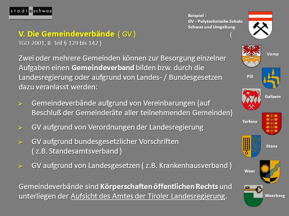 Gemeindeverbände sind Körperschaften öffentlichen Rechts und unterliegen der Aufsicht des Amtes der Tiroler Landesregierung.