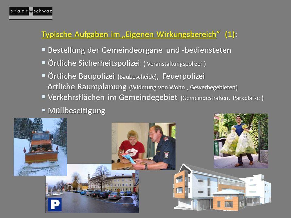 Typische Aufgaben im Eigenen Wirkungsbereich (2): Gas- und Wasserwerke etc.