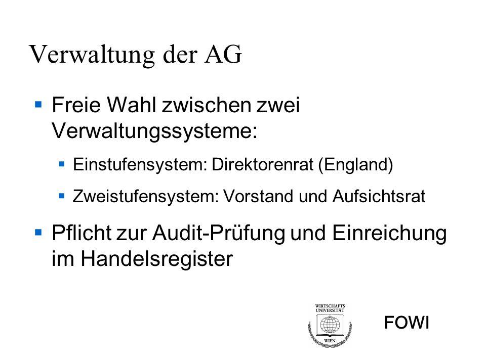 FOWI Verwaltung der AG Freie Wahl zwischen zwei Verwaltungssysteme: Einstufensystem: Direktorenrat (England) Zweistufensystem: Vorstand und Aufsichtsrat Pflicht zur Audit-Prüfung und Einreichung im Handelsregister