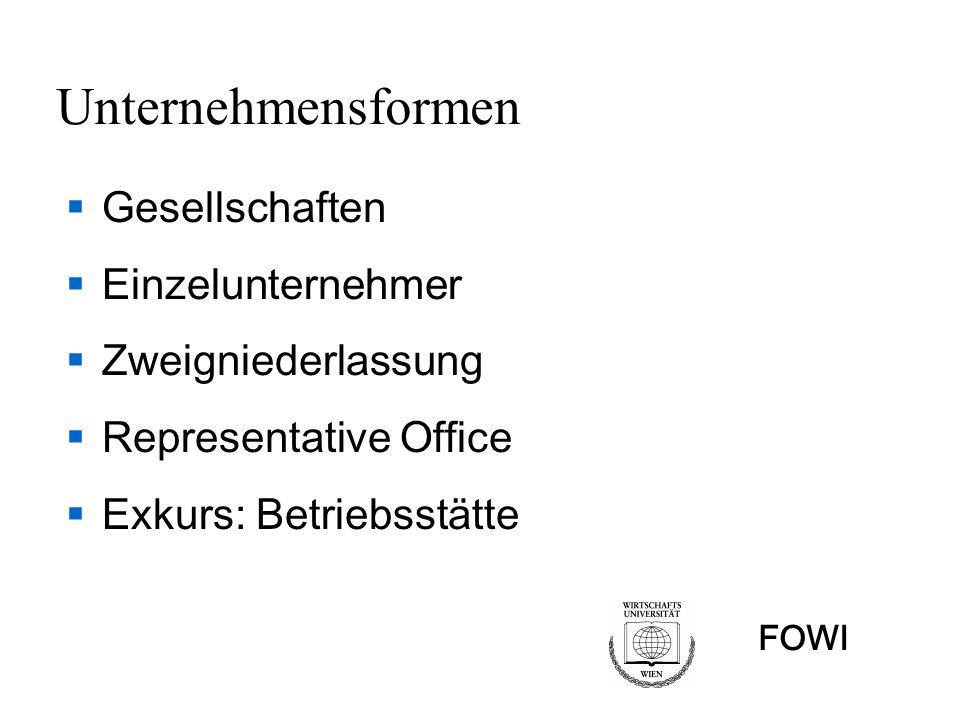 FOWI Gesellschaften Personengesellschaften OHG - СД KG – КД GesbR – дружество по ЗЗД Kapitalgesellschaften AG - АД GmbH - ООД KGA (Kommanditgesellschaft auf Aktien) - КДА
