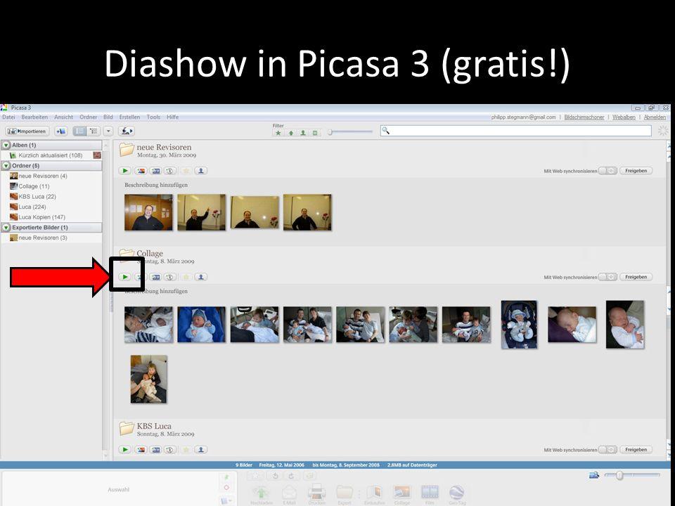 Beispiele von Collagen erstellt mit Picasa 3 beschriftet mit Picasa 3 exportiert auf USB-Speicherstick ausgedruckt an einem Automaten für -.50 Rp.