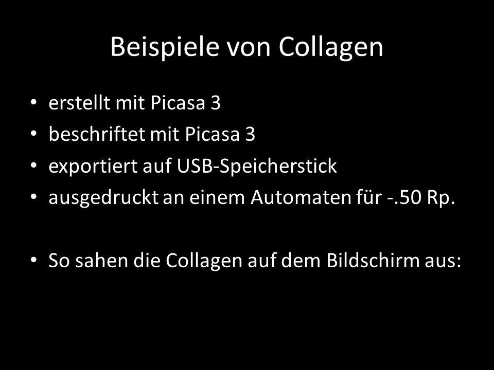 Beispiele von Collagen erstellt mit Picasa 3 beschriftet mit Picasa 3 exportiert auf USB-Speicherstick ausgedruckt an einem Automaten für -.50 Rp. So