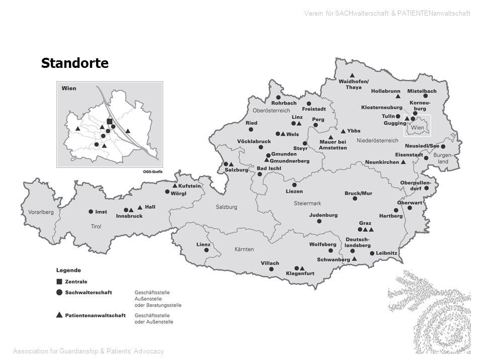Association for Guardianship & Patients Advocacy Verein für SACHwalterschaft & PATIENTENanwaltschaft 34 804 Sachwalterschaften bestehen im Juni 1999 in ganz Österreich Zahlen bundesweit - entnommen aus der Anfragebeantwortung des Bundesministers für Justiz Dr.