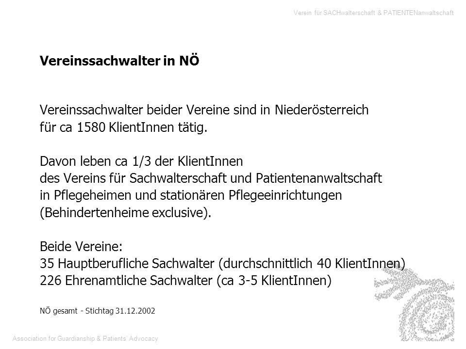 Association for Guardianship & Patients Advocacy Verein für SACHwalterschaft & PATIENTENanwaltschaft Vereinssachwalter beider Vereine sind in Niederös