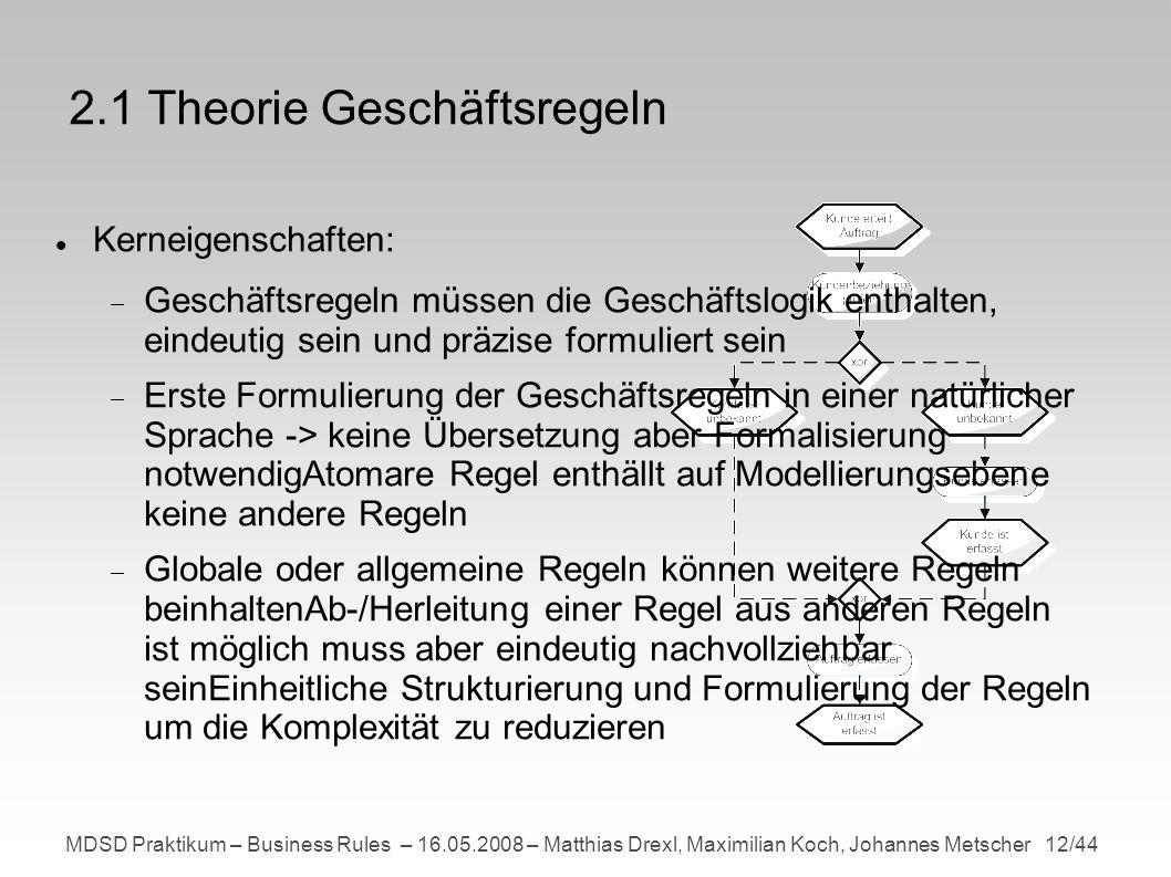 MDSD Praktikum – Business Rules – 16.05.2008 – Matthias Drexl, Maximilian Koch, Johannes Metscher 12/44 2.1 Theorie Geschäftsregeln Kerneigenschaften: Geschäftsregeln müssen die Geschäftslogik enthalten, eindeutig sein und präzise formuliert sein Erste Formulierung der Geschäftsregeln in einer natürlicher Sprache -> keine Übersetzung aber Formalisierung notwendigAtomare Regel enthällt auf Modellierungsebene keine andere Regeln Globale oder allgemeine Regeln können weitere Regeln beinhaltenAb-/Herleitung einer Regel aus anderen Regeln ist möglich muss aber eindeutig nachvollziehbar seinEinheitliche Strukturierung und Formulierung der Regeln um die Komplexität zu reduzieren