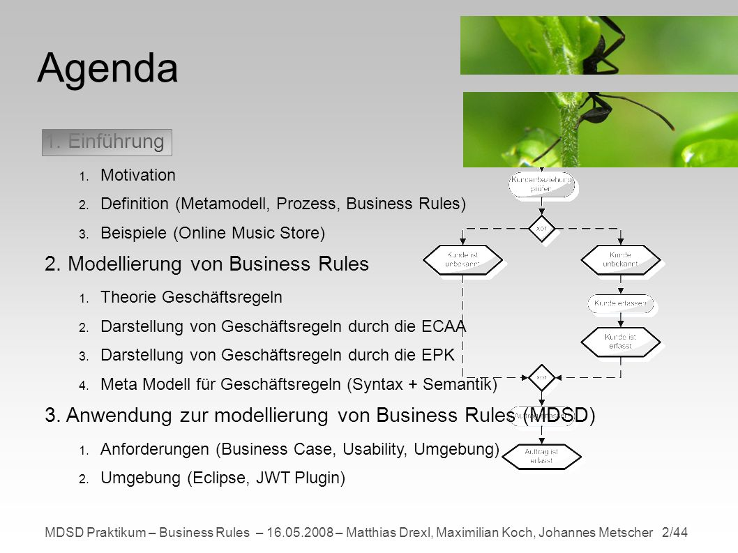 MDSD Praktikum – Business Rules – 16.05.2008 – Matthias Drexl, Maximilian Koch, Johannes Metscher 23/44 Meta Modell Modellierung der ConditionalDecisionNode Abstrakter Syntax Neue Knotenklassen