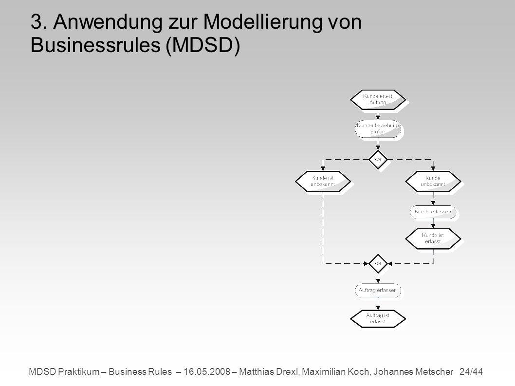 MDSD Praktikum – Business Rules – 16.05.2008 – Matthias Drexl, Maximilian Koch, Johannes Metscher 24/44 3.