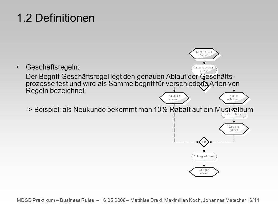 MDSD Praktikum – Business Rules – 16.05.2008 – Matthias Drexl, Maximilian Koch, Johannes Metscher 6/44 1.2 Definitionen Geschäftsregeln: Der Begriff Geschäftsregel legt den genauen Ablauf der Geschäfts- prozesse fest und wird als Sammelbegriff für verschiedene Arten von Regeln bezeichnet.