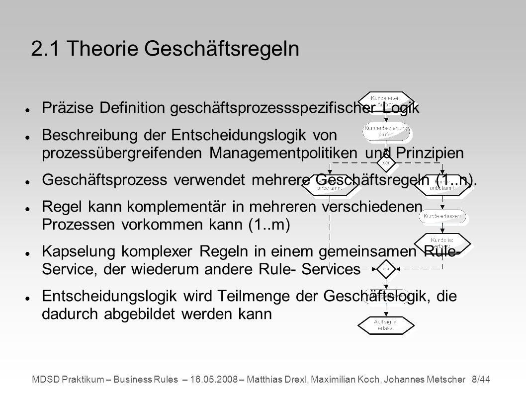 MDSD Praktikum – Business Rules – 16.05.2008 – Matthias Drexl, Maximilian Koch, Johannes Metscher 9/44 2.1 Theorie Geschäftsregeln - Regelbasiertes System Darstellung von Geschäftsregeln in einem regelbasierten SystemRegelbasiertes System besteht aus folgenden Basiselementen: Faktenbasis Datenbank an Fakten (Extraktion von Fakten aus Geschäftsprozess)Regelbasis Menge an Regeln (Regeldatenbank)Business-Rule- Engine Kontrollsystem mit Regelinterpreter