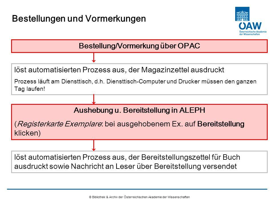 Bestellungen und Vormerkungen © Bibliothek & Archiv der Österreichischen Akademie der Wissenschaften Bestellung/Vormerkung über OPAC löst automatisier