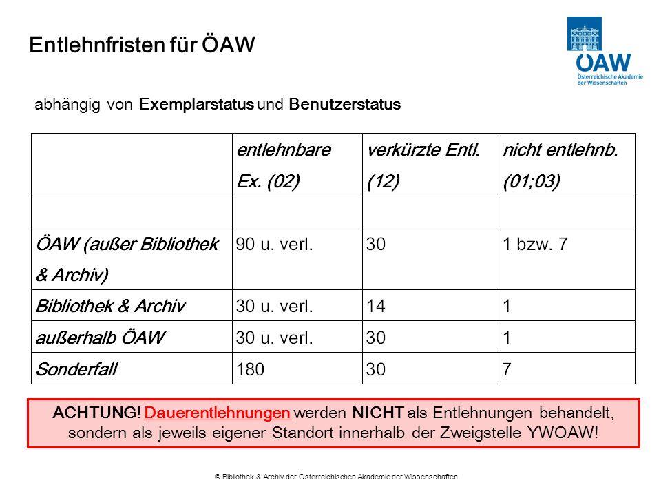 Entlehnfristen für ÖAW © Bibliothek & Archiv der Österreichischen Akademie der Wissenschaften abhängig von Exemplarstatus und Benutzerstatus ACHTUNG!