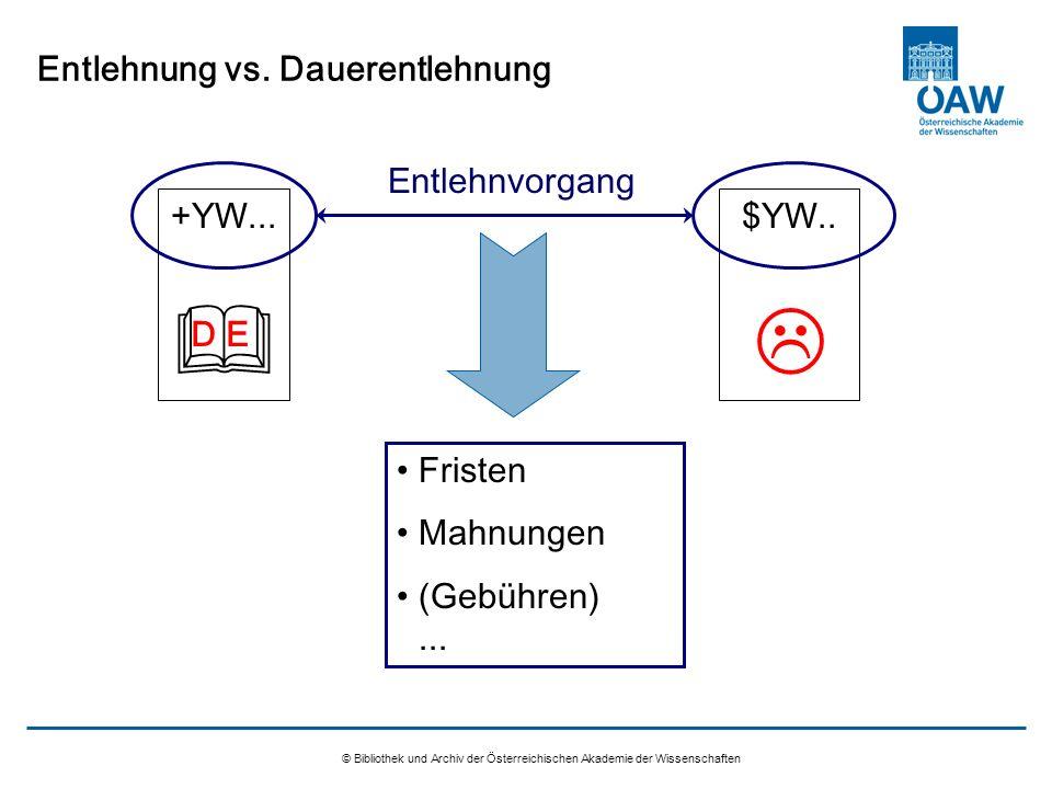 © Bibliothek und Archiv der Österreichischen Akademie der Wissenschaften Entlehnung vs. Dauerentlehnung +YW... $YW.. Entlehnvorgang Fristen Mahnungen