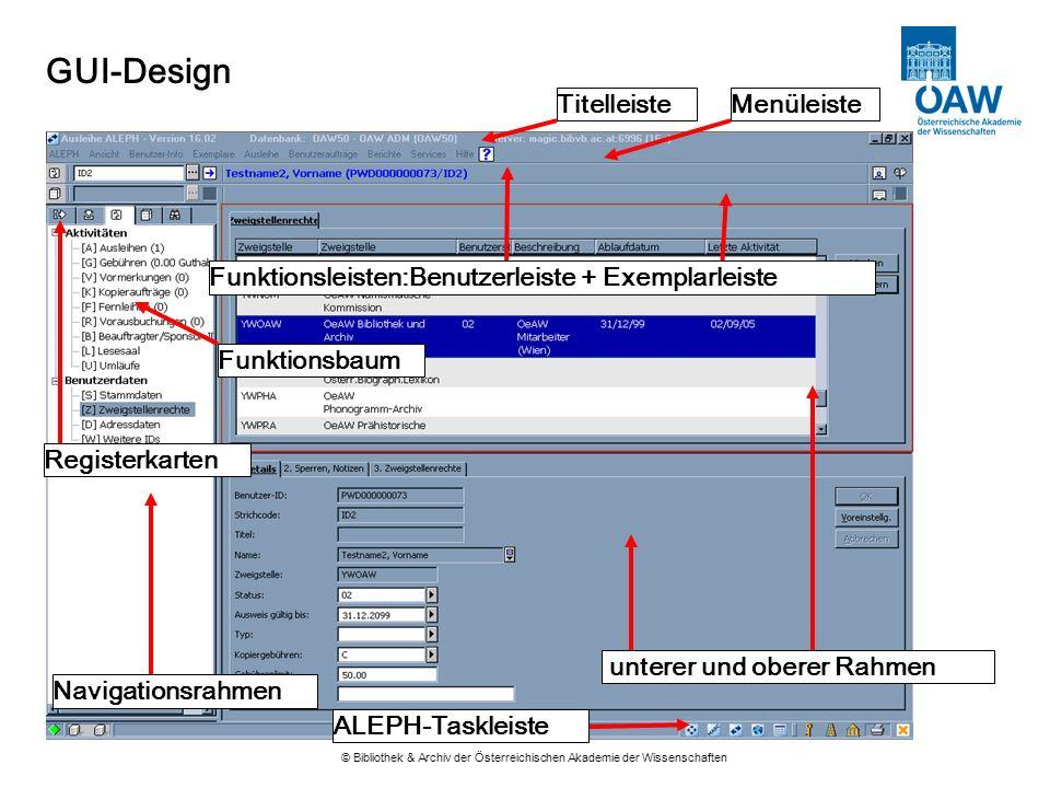 GUI-Design © Bibliothek & Archiv der Österreichischen Akademie der Wissenschaften Navigationsrahmen Registerkarten MenüleisteTitelleiste Funktionsleis