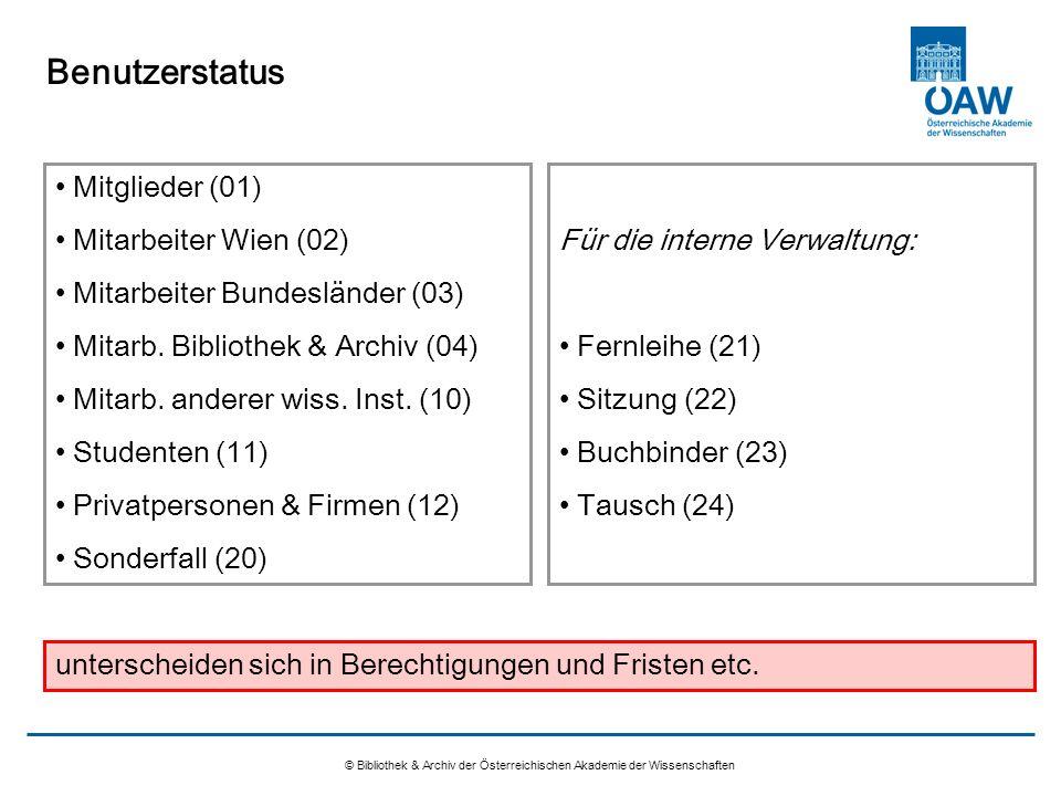Nicht verwendete Funktionen © Bibliothek & Archiv der Österreichischen Akademie der Wissenschaften Adressen: Gültigkeitsperioden Stammdaten: Benutzerprofile Verlustgebühren u.