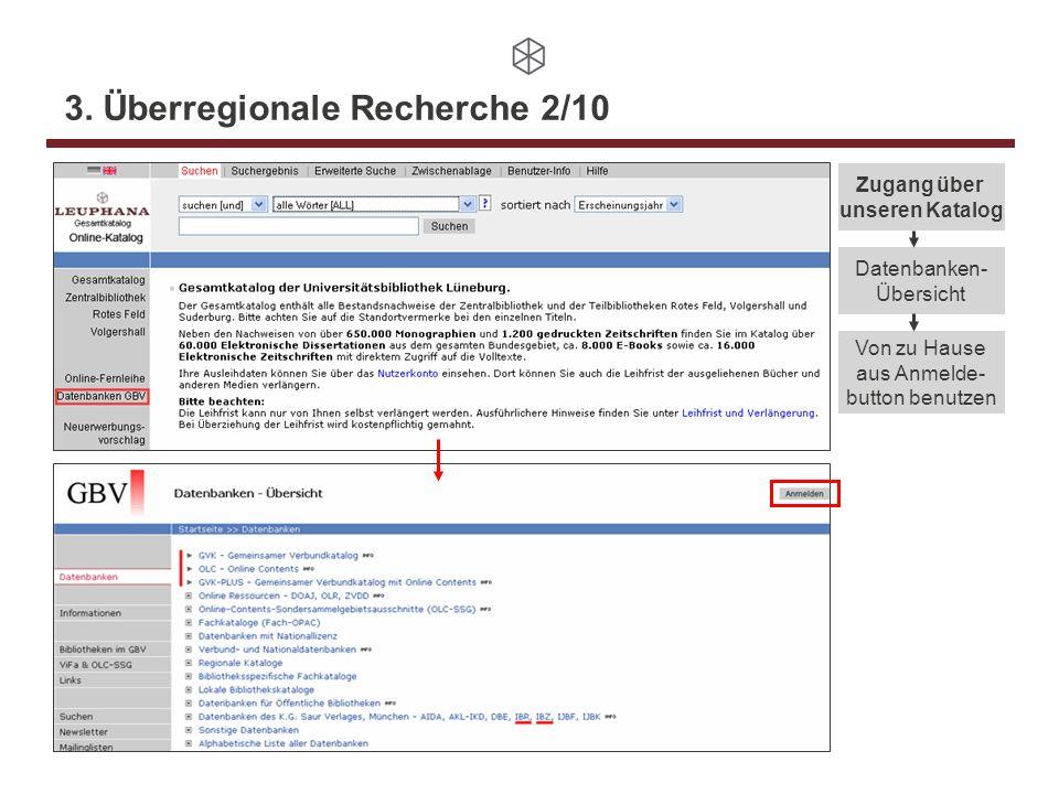 3. Überregionale Recherche 2/10 Datenbanken- Übersicht Zugang über unseren Katalog Von zu Hause aus Anmelde- button benutzen