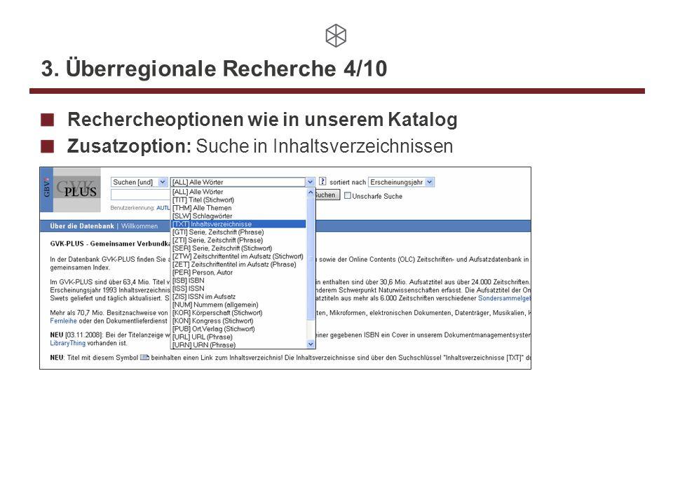 3. Überregionale Recherche 4/10 Rechercheoptionen wie in unserem Katalog Zusatzoption: Suche in Inhaltsverzeichnissen