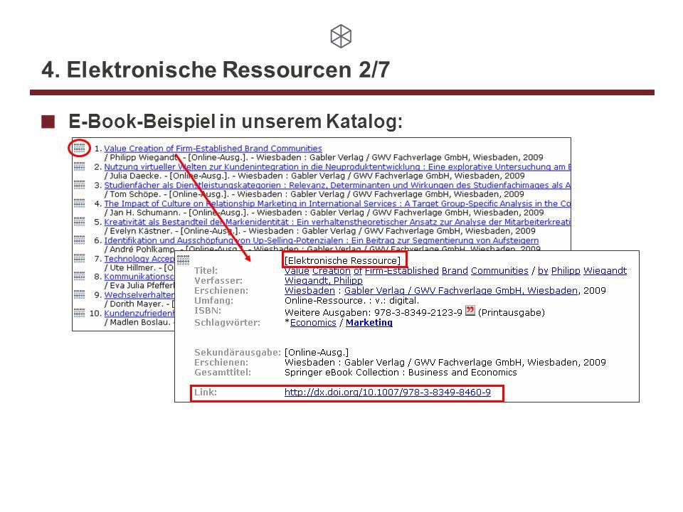 4. Elektronische Ressourcen 2/7 E-Book-Beispiel in unserem Katalog: