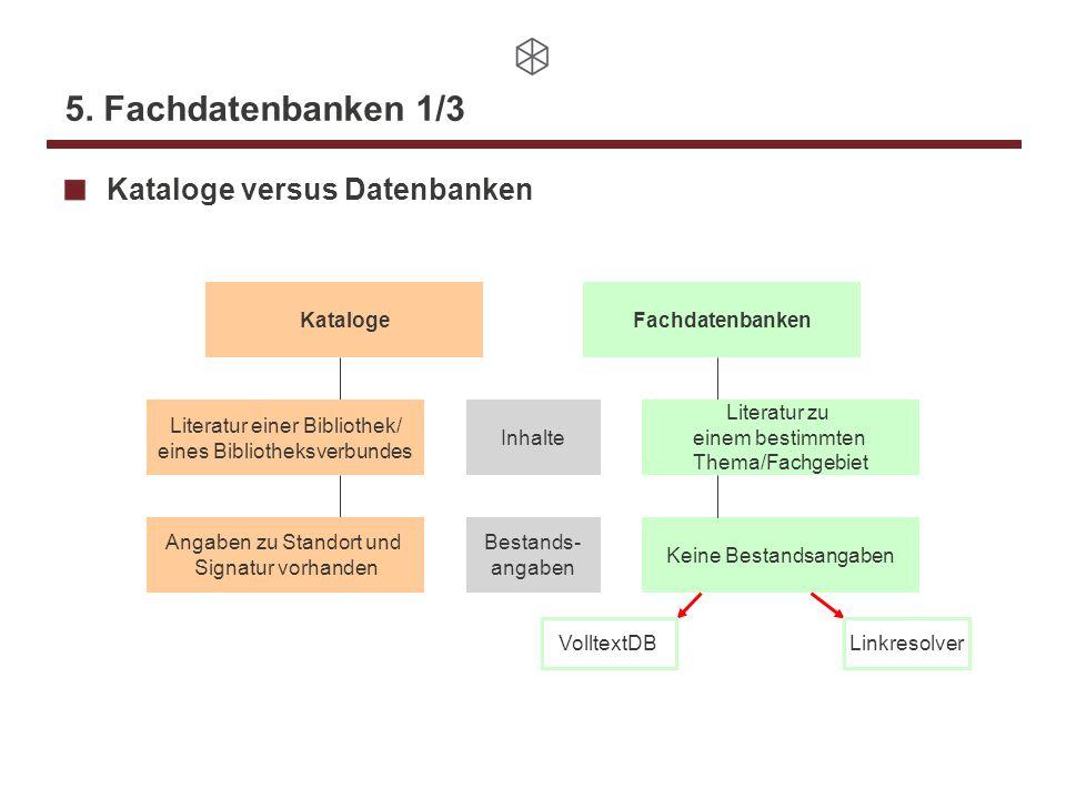 5. Fachdatenbanken 1/3 Kataloge versus Datenbanken KatalogeFachdatenbanken Literatur einer Bibliothek/ eines Bibliotheksverbundes Literatur zu einem b