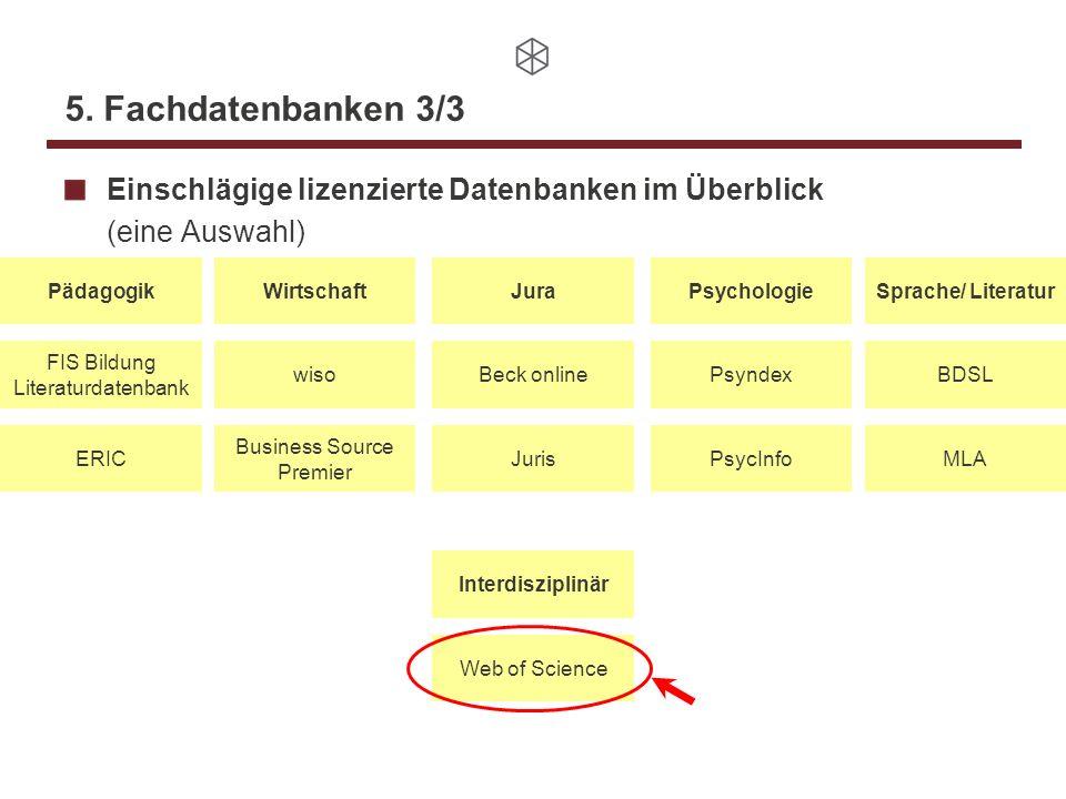 5. Fachdatenbanken 3/3 Einschlägige lizenzierte Datenbanken im Überblick (eine Auswahl) PädagogikJuraWirtschaftPsychologieSprache/ Literatur FIS Bildu