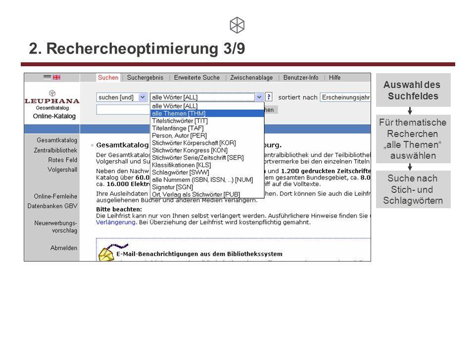 2. Rechercheoptimierung 3/9 Auswahl des Suchfeldes Für thematische Recherchen alle Themen auswählen Suche nach Stich- und Schlagwörtern