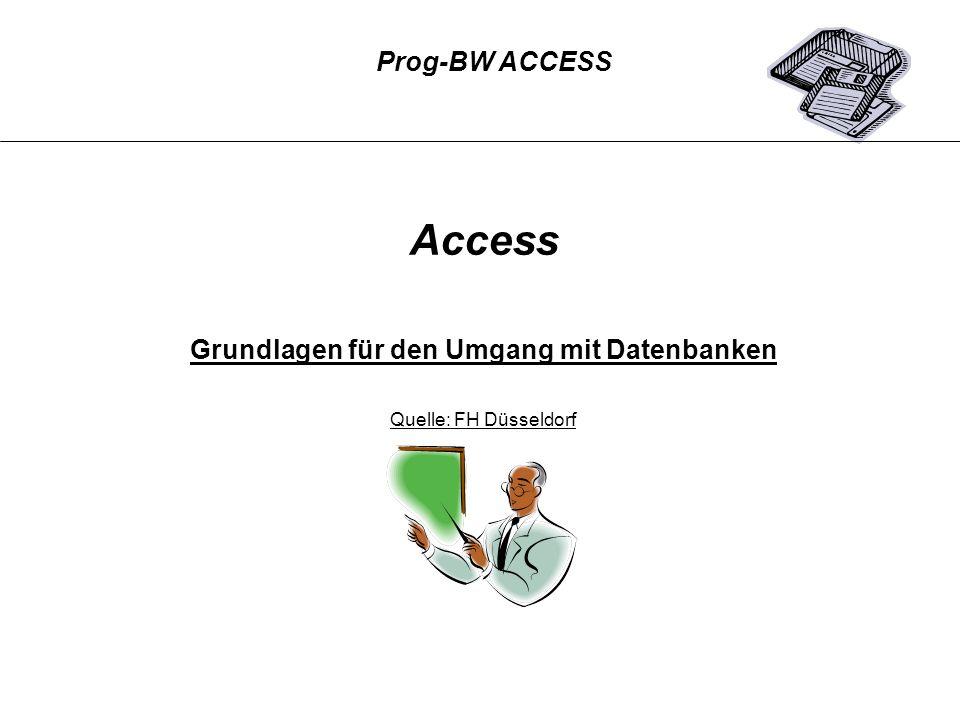 Prog-BW ACCESS Access Grundlagen für den Umgang mit Datenbanken Quelle: FH Düsseldorf